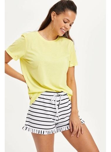DeFacto Basic Kısa Kollu T-shirt Sarı